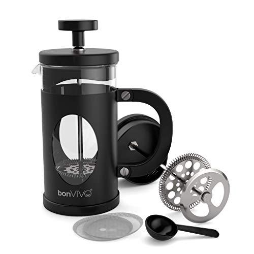 BonVivo GAZETARO I French Press - Design-Kaffeebereiter in Schwarz - Kaffeekocher aus Glas mit Edelstahl-Filter – Kaffeekanne 350ml (3 Tassen)
