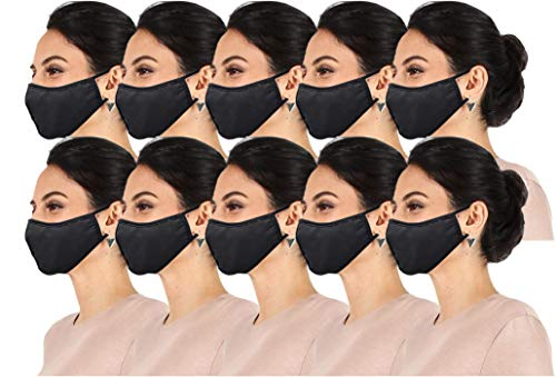 10 Pack Fabric face mask reusable Washable Double Layer Facial Cover, Made in USA? (10 Pk Black, One Size)