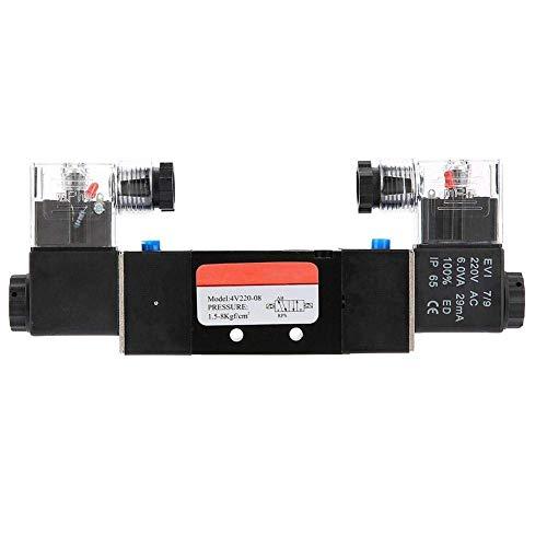 JUNYYANG Válvula solenoide eléctrica, Solenoide G1 / 4'4V220-08 2 Posición 5 puertos Controlador de líquido de válvula de aire electromagnética accionado por piloto para sistema neumático (AC220V)