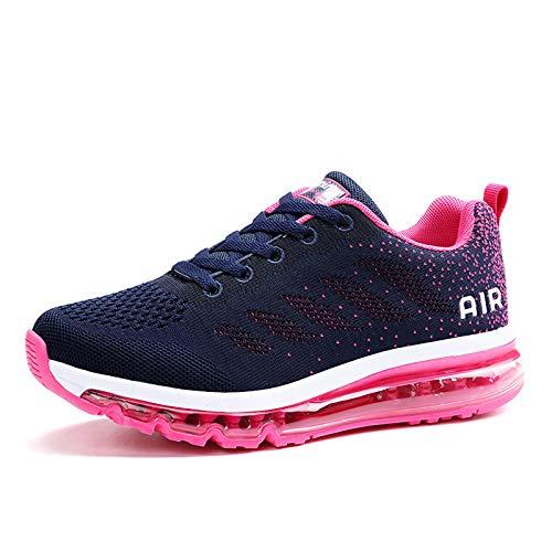 smarten Sportschuhe Herren Damen Laufschuhe Unisex Turnschuhe Air Atmungsaktiv Running Schuhe mit Luftpolster Blue Red 40 EU