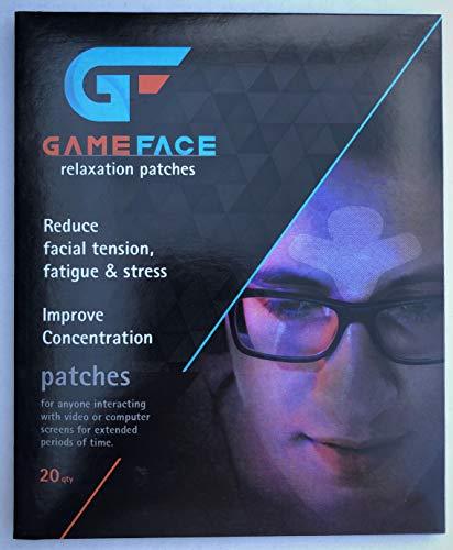 Parches de relajación GAMEFACE para prevenir y aliviar la tensión entre las cejas y la frente de la interacción extendida de la pantalla, 20 parches