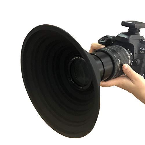 Parasol universal de silicona plegable y antirreflectante para cámara de fotos y vídeos, parasol de objetivo Canon de 18 a 55 mm, parasol de objetivo Nikon para cámara Sony (tamaño grande)