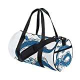 LONSANT Legend Dragon Mythical Creature Japanese Culture Folk Icon Print Barrel Duffel Bag Sports Yoga Gym Fitness Bag Travel Weekender Bags for Men and Women