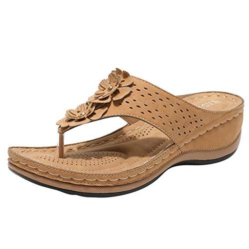 LSAltd Damen Floral Flip Flops Sandalen, Orthesen Comfort Wedges Schuhe Outdoor Walk Hausschuhe Frauen Atmungsaktiv Laufschuhe Leichtgewichts Sport Freizeit Turnschuhe