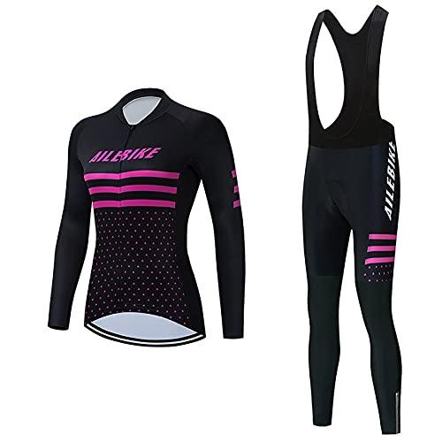 Conjunto de Maillot de Ciclismo para Mujer, Camisa De Manga Larga para Bicicleta Reflectante Simple Al Aire Libre con Gel 3D Acolchado (Color : B, Tamaño : 3XL)