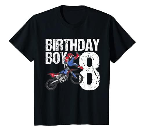 Bambino 8 anni Dirt Bike Festa di Compleanno Motocross MX 8° Regalo Maglietta