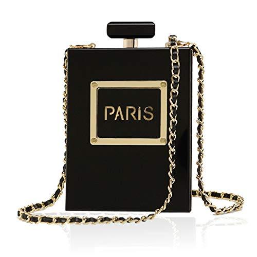 Women's Acrylic Paris Perfume Shaped Black Bag Purses Clutch Evening Bags Vintage Banquet Handbag...