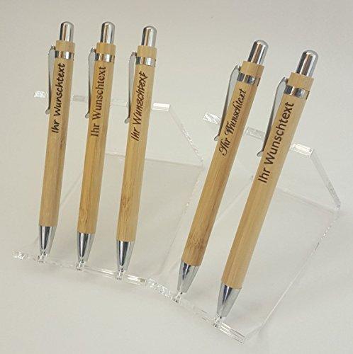 Holz-Kugelschreiber mit Name graviert - Personalisierter Kugelschreiber aus Bambus - mit individueller Wunsch-Gravur als Geschenk