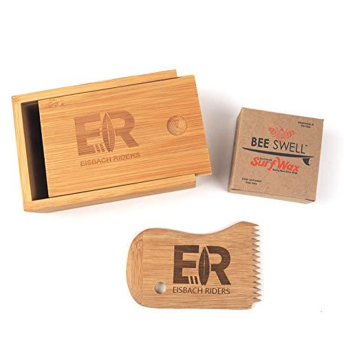 Eisbach Riders Bamboo Surf Wax Box mit Kamm und Organic Handmade Wax (Tropical) - Bambus Wachs Box