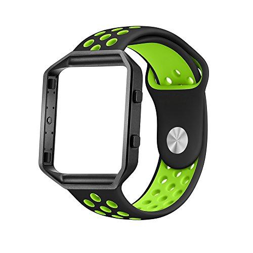 LoveBlue for Fitbit Blaze Band,Fitbit Blaze Sports Silicone Bracelet Strap Wristband Replacement Band Watchband with Frame for Fitbit Blaze (Black&Green+Black Frame-Large)