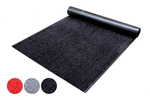 Schmutzfang-Läufer Teppich Meterware Schmutzfang-Matte WASH and CLEAN – Schwarz 90 x 200 cm, Waschbarer, Rutschfester, Wasserabsorbierender Küchenläufer, Sauberlauf, Fußmatte für Innen und Außen