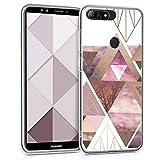 kwmobile Funda para Huawei Y7 (2018)/Y7 Prime (2018) - Carcasa de TPU para móvil y diseño de triángulos en Rosa Claro/Oro Rosa/Blanco