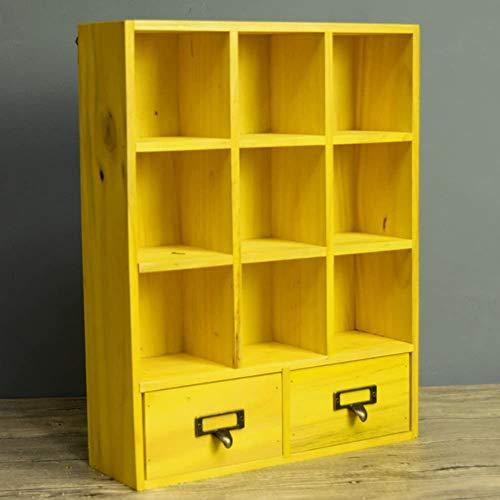 DNSJB Organizador de cajones de Madera Estante, Sala Baño Escritorio Caja de Almacenamiento cosmética, Tapiz de Almacenamiento Soporte de exhibición (Color : Yellow)