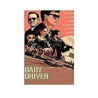 映画 ポスター Baby Driver キャンバスポスター寝室の装飾スポーツ風景オフィスルームの装飾ギフト,キャンバスポスター壁アートの装飾リビングルームの寝室の装飾のための絵画の印刷 24x36inch(60x90cm)
