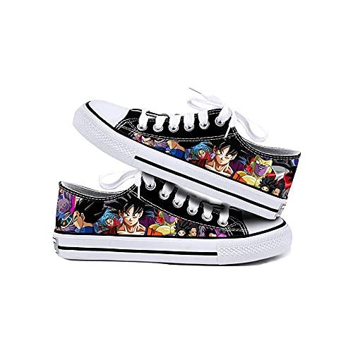 JPTYJ Cómic de Dibujos Animados Son Goku/Vegeta IV Zapatos de Lona Unisex Zapatillas Zapatos con Cordones de Anime A-42