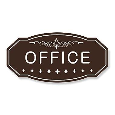 OFFICE Victorian Door/Wall Sign (Dark Brown) - Large 5  x 10