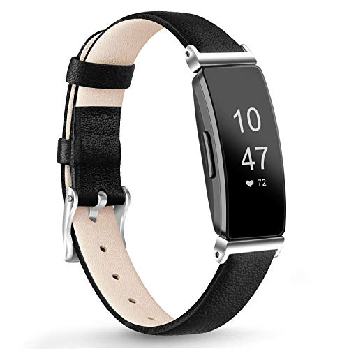 AK Leather Bands Compatible with Fitbit Inspire HR/Inspire/Ace 2 Fitness Tracker Soft Sport Leather Wristbands Classic Replacement Strap for Women Men(Black,5.3