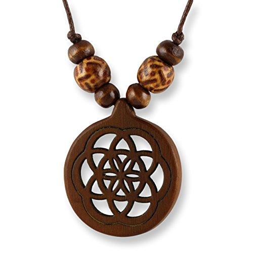 ISLAND PIERCINGS Halskette Anhänger aus Holz Blume des Lebens längenverstellbar N289