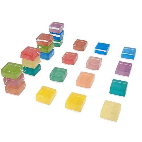 Quadratische Bunte Glasmagnete für Küche Büro, 15mm Kühlschrank Magnet, Kühlschrankmagnete für Whiteboard und trocken löschen Board Multicolor niedlich Spaß Dekoration (24 Pack)