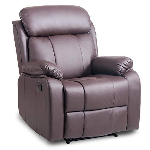Life Carver Sillón reclinable de piel reclinable sofá acolchado ergonómico cómodo silla reclinable manual mecedora silla de salón moderno Marrón-1