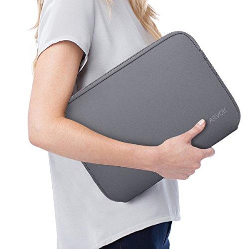 Arvok 15 15,6 16 Zoll Laptoptasche Schutzhülle Wasserdicht Neoprene, Laptop Sleeve Case Laptophülle Notebook Hülle Tasche für Acer/Asus/Dell/Fujitsu/Lenovo/HP/Samsung/Sony, Grau