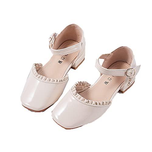 Zapatos de Princesa para niñas Transpirables Ligeros de Color sólido con Punta Redonda Zapatos de Cuero para niños Rendimiento Escolar Zapatos de Baile de tacón bajo
