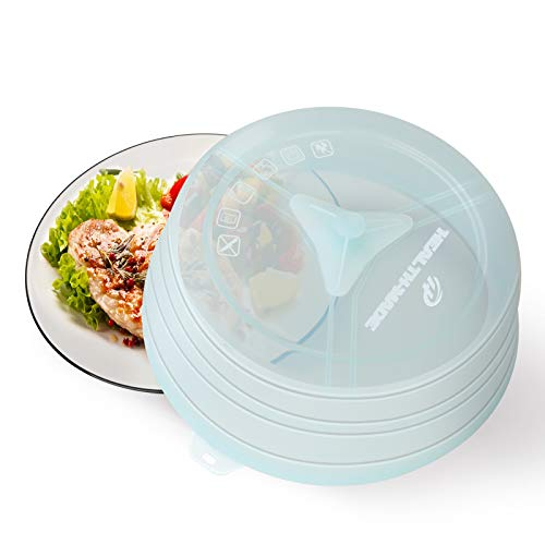 Collapsible Silicone Microwave Splatter Cover for Food, BPA-Free Silicone Vented Microwave Plate Cover with Easy-Grip Handle, Microwave Oven & Dishwasher Safe, 10.5 Inches, Mint Green
