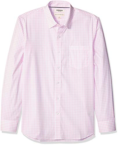 Amazon Brand - Goodthreads Men's Standard-Fit Long-Sleeve Wrinkle Resistant Comfort Stretch Poplin with Easy-Care, Pink Gingham, Large