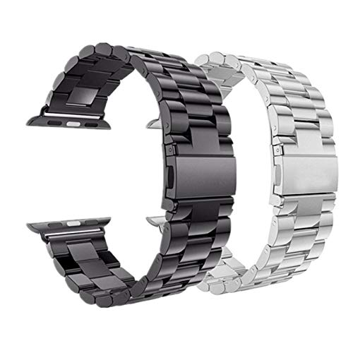 2 PCS Correa Aplicar a Apple Watch Band 44 mm 40 mm IWATCH Band 42mm 38 mm Pulsera de Acero Inoxidable para la Serie de Relojes Apple 5 4 3 2 1 (Band Color : Black, Band Width : 44mm or 42mm)