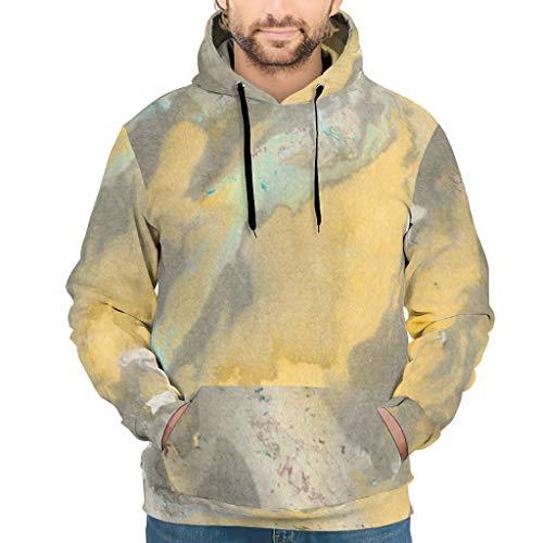 Lind88 Sudadera con capucha con textura de mármol para hombre, estilo moderno, color blanco, 4XL