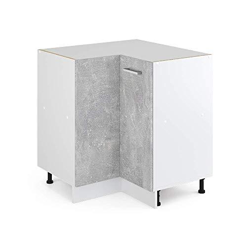 Vicco Küchenschrank R-Line Hängeschrank Unterschrank Küchenzeile Küchenunterschrank Arbeitsplatte, Möbel verfügbar in anthrazit und weiß (Beton ohne Arbeitsplatte, Eckunterschrank 87 cm)