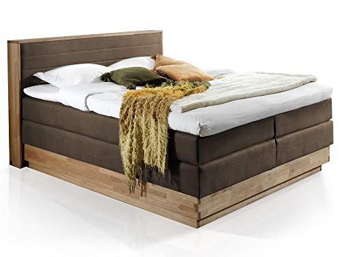 moebel-eins MENOTA Boxspringbett mit Bettkasten, massivem Holzrahmen und Bezug im Vintage Look, 160 x 200 cm, braun, Härtegrad 3+4