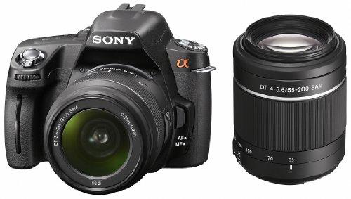 Sony DSLR-A390Y SLR-Digitalkamera (14,9 Megapixel, 6,9 cm (2,7 Zoll) Display) Double Zoom Kit inkl. DT 18-55 mm SAM und DT 55-200 mm SAM Objektiv schwarz