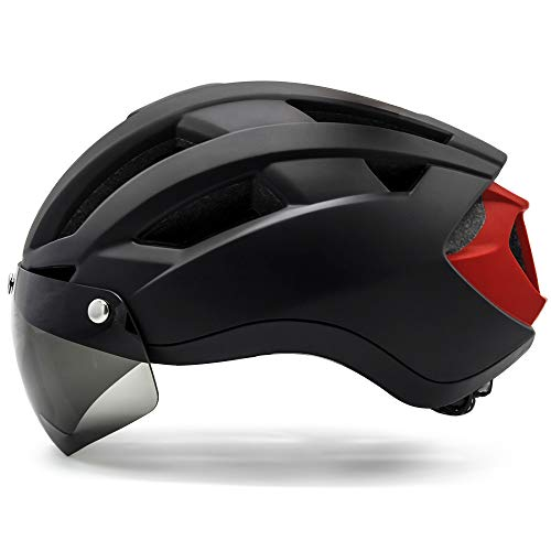 VICTGOAL Bike Helmet with USB Rechargeable Rear Light Removable Magnetic Shield Visor Mountain & Road Bicycle Helmet Adults Cycling Helmets for Men/Women Size (M/L, L/XL) (Black, L)