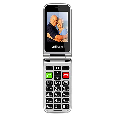 artfone CF241A Big Button Flip Mobile Phone for Elderly,Upgraded GSM Mobile Phone With SOS Button | Talking Number | 1000mAh Battery | Dual SIM Unlocked | Torch Side Buttons | Bluetooth(Black)