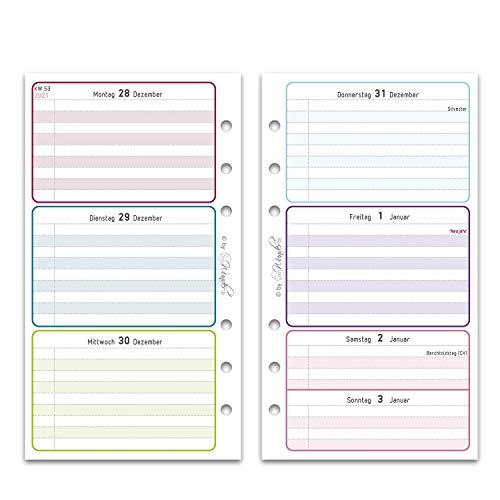 SinnWunder® Premium-Kalendereinlagen - Wochenplan mit 1 Woche auf 2 Seiten - LuckySinn (2021 - Personal)