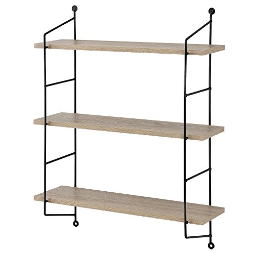 [en.casa] Estantería de Pared Decorativa con 3 estantes - Marco de Acero Resistente - Efecto Madera - 48 x 15 cm - Retro