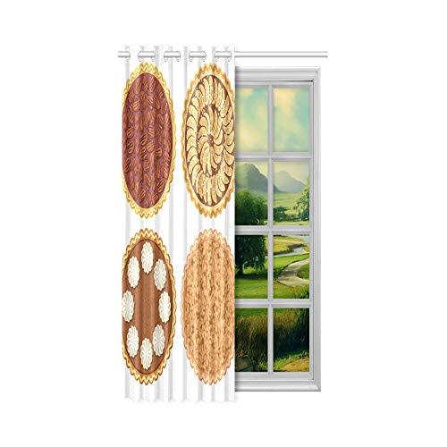 N\A Niedliche Vorhänge Verdunkelung Apfelkuchen isoliert mit Äpfeln Stoff Vorhänge für Wohnzimmer 52x63 Zoll (132x160cm) 1 Panel Blackout Tülle Vorhang für Schlafzimmer Wohnzimmer