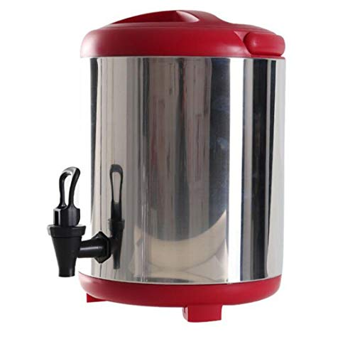 GHKWXUE Dispensador de Bebidas térmico Termo con el termómetro con el Grifo de Doble Aislamiento Leche té Barril de Acero Inoxidable de 8 l / 10L 12L por Tea Shop Restaurante Reunión de la Familia