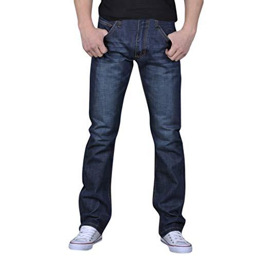 Benficial Men's Pure Color Denim Cotton Vintage Wash Hip Hop Work Trousers Jeans Pants 2019 Summer Blue