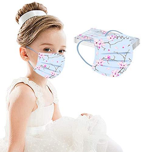 50 Stück Mundschutz Kinder Einweg 3-lagig mit Motiv Bunt Mund Nasenschutz Cartoon Druck Tücher Atmungsaktiv Mund-Tuch Bandana Halstuch Schals (C7-10PC, 14.5 * 9.5)
