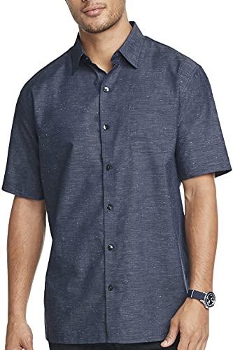 Van Heusen Men's Air Short Sleeve Button Down Poly Rayon Grid Shirt, Black Iris Texture, Large
