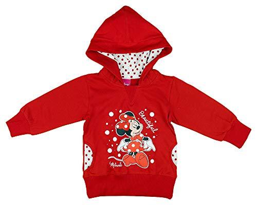 Mädchen Kapuzen-Pullover-Jacke-Pulli mit Minnie Mouse, Disney, 2 3 4 5 Jahre, Langarm in Größe 80 86 92 98 104 110 116 in Rot gepunktet (Modell 1, 80)