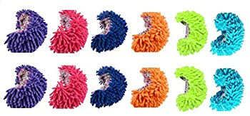 King s deal 12pcs  6 Pairs  Dust Floor Cleaning Slippers Shoes Mop House Clean Shoe Cover Multifunction 6 Color