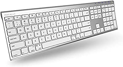 Macally Wireless Bluetooth Keyboard with Numeric Keypad for Laptops, Computers (Apple: Mac, iMac, MacBook Pro/Air, iOS, iPhone, iPad, Windows: PC and Android), Smartphones, Tablets (Aluminum Silver)