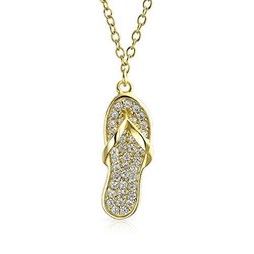 Bling Jewelry Nautisch Pave CZ Akzent Flip Flop Sandale Kette Mit Anhänger Für Damen Jugendlich 14 K Vergoldet Sterling Silber 925