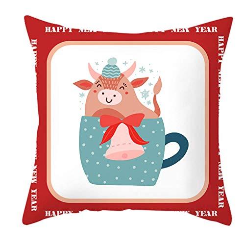 Iwinna 2021 Happy New Year Pillow Case Cartoon Ox Print Party Decorative Cushion Cover