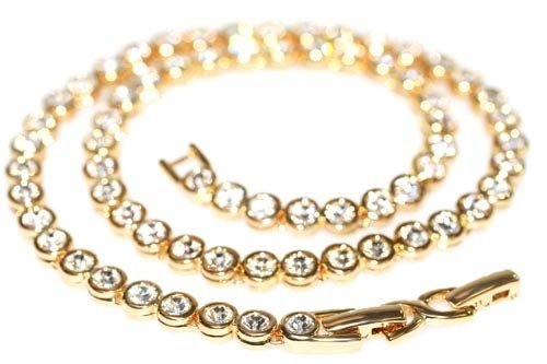 Le BIJOU Tennis-Collier made with CRYSTALLIZED TM - Swarovski Elements, crystal-gold -IM SCHMUCKBEUTEL
