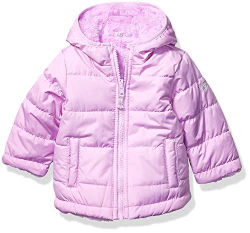 OshKosh B'Gosh Baby Girls Reversible Puffer Jacket Coat, Lilac to Cozy Lilac, 12Mo