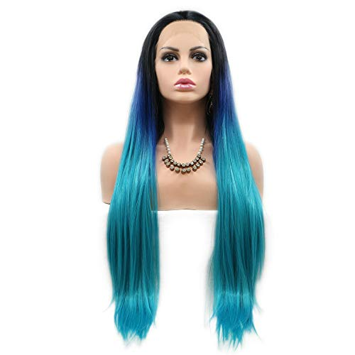 Dark Blue Wig Sapphire Wigs Black Roots Ombre Blue Lace Front Wig Free Part Heat Resistant Fiber Wigs Long Straight Hair Summer Holidays Party Costume for Women Girls 3 Tone 24inches
